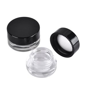 Siyah Kapaklı Food Grade Yapışmaz 3ml 5ml Cam Kavanoz temperli cam Konteyner Wax Kavanozları Kuru Ot Konteynerleri