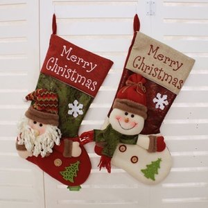 20pcs Christmas Stocking Christmas Tree Ornament Snowman Santa Claus Christmas Decorations Candy Socks Bags Xmas Gift Bag 2style T500259