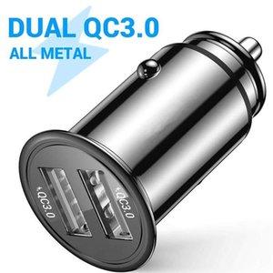 Cgjxs 36w Matal lega veloce rapida Caricabatteria da auto Dual USB QC3 .0 3 .1A Caricatori da auto per Iphone 7 8 X 11 Samsung S10 S20 Htc Android Phone Tablet