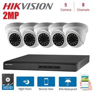 الأنظمة Hikvision English 8-Channel DVR DS-7208HGHI-F1 / N + 5PCS DS-2CE56D0T-IRF 2MP داخلي قبة كاميرا كيت