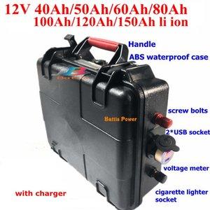 12v 80Ah de la batería de litio impermeable 40AH 60AH 100AH 120 Ah 150AH USB barco de pesca Solar Energy Storage Battery + cargador 10A