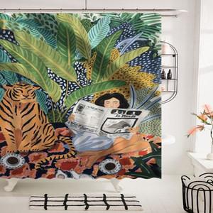 3D 방수 화장실 파티션 북유럽 매달려 커튼 타이거 소녀 욕실 샤워 커튼 샤워를 인쇄