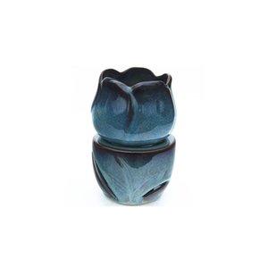 Tulip Shape huile chaud Bleu Réactif Glaze Essential Céramique Huile brûleur Bougie aromathérapie Fondants cire cadeau