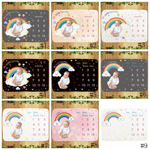 18 stili bambino Milestone Blanket infantile fotografia sfondo coperte puntelli fotografiche lettere arcobaleno animale coperta in pile GGA3636