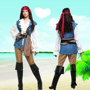 p2l4M HQmEQ Halloween Pirati abbigliamento per adulti del cosplay caraibica pantaloni costume uniforme del gioco Fase Pirate abbigliamento pirata femminile Il palcoscenico