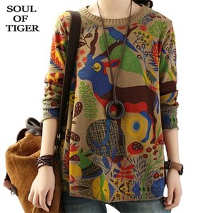 SOUL OF TIGER Korean Brand Fashion Ladies Vintage Printed Sweaters Womens Casual Loose Pullovers Winter Cotton Knitted Jumpers 0925