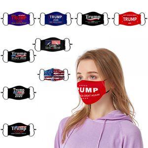 Trump 2020 Mascarillas con la ranura del filtro de máscaras de protección a prueba de polvo estadounidense Elección de la bandera de Estados Unidos del algodón de la cara Máscaras FY9161