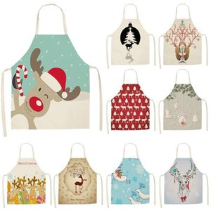 Aprons 1Pc Lovely Deer Christmas Kitchen Apron For Woman Pinafore Cotton Linen 53*65cm Home Cooking Baking Cleaning Bibs