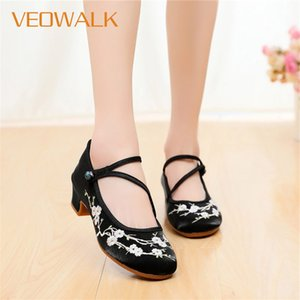 Veowalk Women Cotton 4cm Block Heels Shoes Vintage Flower Embroidered Ladies Casual Pumps Ankle Strap Chinese Dress High Heels