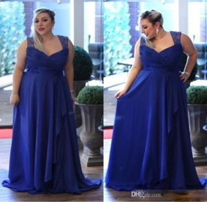 Плюс размер сшитой линия шифоновых платьев выпускного вечер Royal Blue бретельки Формального вечерних платья вечерних платьев матери платье