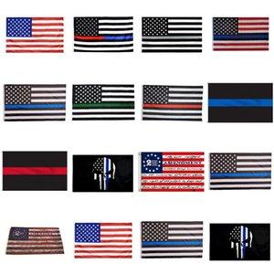 90 * 150cm Banderas BlueLine EE.UU. Policía segunda enmienda de la vendimia de la bandera americana de poliéster delgada línea azul de la bandera de EE.UU. CYZ2819