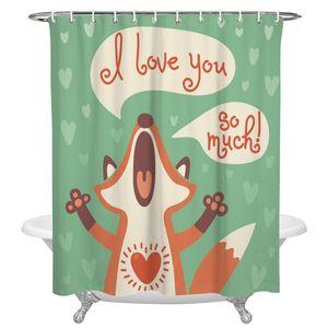 Cartoon Love Animal Print doccia Tende impermeabile Accessori Bagno poliestere Shower Curtain Home Decor