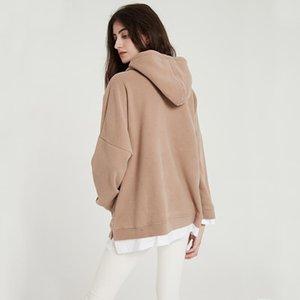 Wixra Frauen-beiläufige Sweatshirts Warm Velvet Langarm-Aufmaß Hoodies Tops Herbst-Winter-Pullover 200.924 Tops