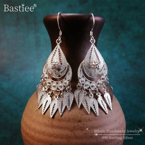 Bastiee Female Drop Earrings 999 Sterling Silver Women's Jewelry Tassel Dangle Earring Fine Miao Handmade Industrial Large Women
