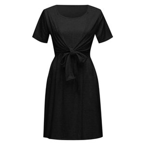 SAGACE baby mother breastfeeding stitching layered pleated skirt pregnant women short-sleeved solid color bow frilled home dress