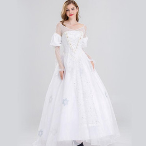 fast free shipping Movie version of adult Alice in Wonderland 2 White Queen COS Anime cosplay dress costume Stage skirt