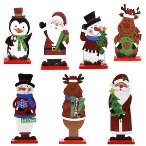Рождество Деревянная Рисунок Украшение Деревянные Санта Elk Снеговик Crafts Таблица украшения Дети Рождество Новый год Подарок DWD1086