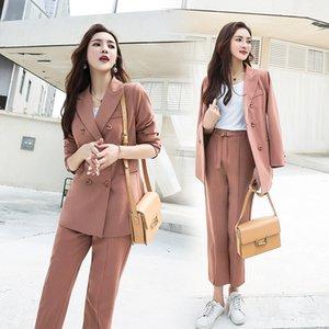Oficina de la Mujer Señora Dos piezas sólidas elegante doble de pecho Turn-down Collar Blazers Trouesrs con los marcos nuevos trajes