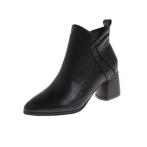 CHIC Fashion PU Leather Ankle Boots Women Autumn Winter Bootie For Dress Career 2020 Lady Shoes Pointed Toe Block Heel Zip New