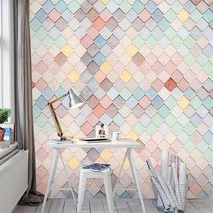 dessert milk bakery shop silk mural wallpapersModern minimalist Nordic Macaron wallpaper beauty nail makeup shop wallpaper