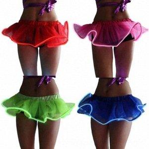Sexy Girls Light Up LED Пачка El Wire балету Rave Туту мини-юбки Твердая шарика Tulle Юбки Женская одежда Платья odgi #