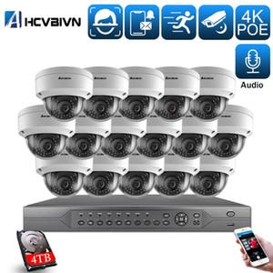 H.265 + 16CH 4K 5MP Audio CCTV Système NVR Kit imperméable AI Smart Infared Security Caméra Poe Vidéo Surveillance Ensemble Onvif
