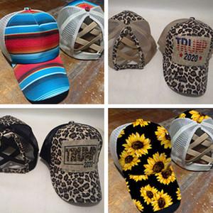 Trump 2020 Sombrero de béisbol de las señoras de la cola de caballo bola casquillo gorras de moda Snapbacks del arco iris de rayas leopardo de la impresión del girasol de Hip Hop visera E81901