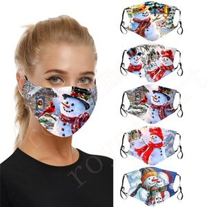 Christmas Face Mask Cotton Breathable Mask Winter Dust-proof Snowman Printing Reusable Masks With Adjustable Earloop 5 Styles