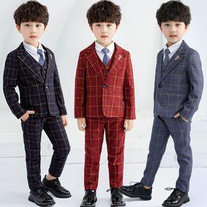 Kids Formal Wedding Suits Flower Boys Plaid Blazer Vest Pants 3pcs Prom Party Tuxedo Birthday Dress Children Performance Costume