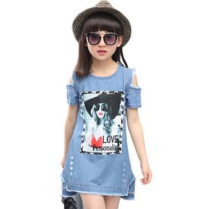Aixinghao 어린이 드레스를 들면 여자 캐주얼 데님 끈 드레스 소녀 여름 십대 만화 패턴 여자 데님 의류 8 ~ 10 LJ200825