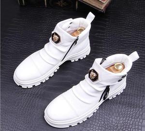 2020 Erkekler Moda Günlük Bilek Boots İlkbahar Sonbahar Punk Tarzı Perçinler Trend Ayakkabı Erkek Deri Yüksek Üst Hip Hop Sneakers beyaz yeşil