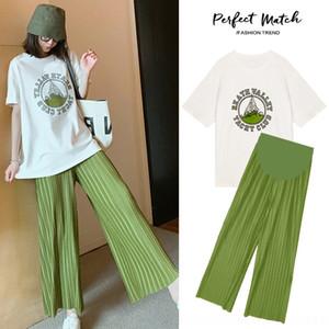 pantaloni stampati abiti maternity gamba 2020 estate nuova coreana due pezzi T-shirt a vita alta maternità set pancia pantaloni sostegno tuta larga BT9 j4pyR