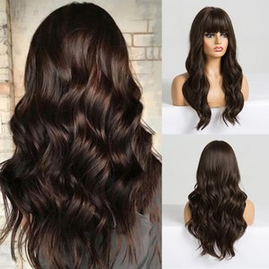 Long Dark Brown Womens Wigs with Bangs Water Wave Heat Resistant Synthetic Wigs for Black Women African American Hair