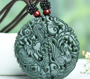 1 Set Оригинальный Jade ожерелье Резные украшения Jade Dragon Phoenix ожерелье любовника Jade00