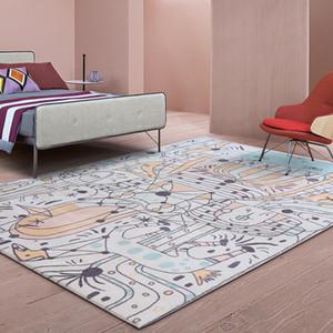 Komik Çocuk soyut karalama sanat alan kilim, INS popüler ev dekorasyon başucu halı 1.8cm kalınlık
