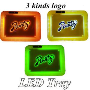 Runtz LED Brilho Bandeja Tabaco recarregável para suporte a seco Herb Flower rolamento Glowtray Armazenamento 28 * 20,8 3,6 centímetros * com a opção Cabo USB 3 estilo