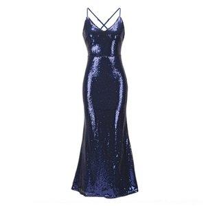 HApZB fishtail nuovo vestito da sera vestito dell'imbracatura 6aCC8 colore sexy gonna gonna sera solido fishtail 2020 delle donne lustrini