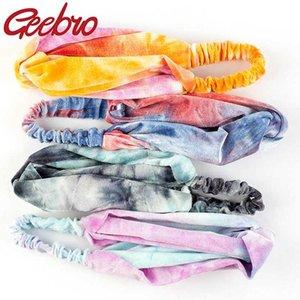 Bohemian Velvet Vintage de Geebro Mulheres Tie Dye colorido Hairband Handmade arco-íris Moda Headband personalizado Acessórios de cabelo