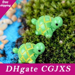 Artificial Green Tortoise Animais Fairy Garden Miniatures Mini Gnomes Moss Terrariums artesanato resina Figurines para decoração de jardim bonito