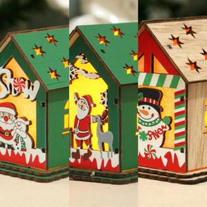 Yeni hediye süsleri Diydiy Ahşap Ev çocuk el yapımı ağaç dekorasyon kabin Yeni hediye süsleri Diydiy Noel Ahşap Ev childr