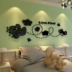 Детская комната мультфильм Plane 3D акриловые стены стикеры младенца Спальня мальчиков номер стены Декор 3D наклейки Съемный водонепроницаемый Наклейка на стену