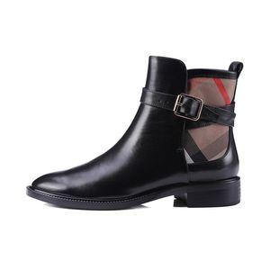 2020 Primavera otoño moda mujer tobillo botas negro cuero genuino botas mujer tacones baja suave botas de cuero