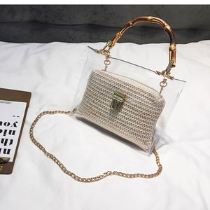 Leftside sacchetto trasparente per le donne 2020 borsa con manico di bambù Estate piccola catena Borse Crossbody di paglia delle signore spiaggia Borse