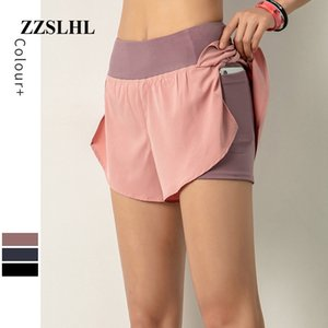 Quick Dry High Waisted Workout Yoga Sport Running Shorts Women Double Layer Fitness Training Shorts with Phone Pocket