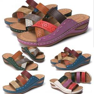 tamaño grande para las mujeres usan fuera de moda nuevas sandalias de coincidencia de color Roma y zapatillas zapatillas sandalias de correa cruzadas