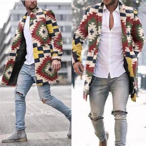 Göğüslü Yün Dış Giyim Tasarımcı Streetwear Serin Ceket Man Gökkuşağı Ekose Hendek Coats Moda Trend Yedi renkli Gökkuşağı İnce Uzun Tek
