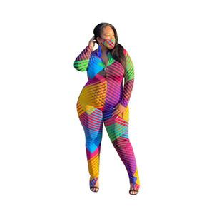 다채로운 줄무늬 기하학적 점프 슈트 플러스 사이즈 분할 지퍼 한 조각 장난 꾸러기 여성 긴 소매 특대 섹시한 바지를 여자