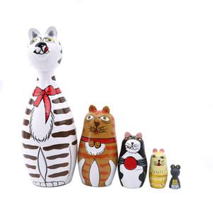 5 Painted pc / insieme Cat House russa Matryoshka bambole a mano regalo di compleanno della decorazione della casa giocattolo del bambino Bambole di legno matrioska