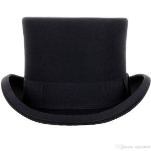 13.5cm высокий 100% шерсть Top Hat сатин Подкладка президент партии Мужская Войлок Дерби Black Hat Женщины Мужчины Fedoras