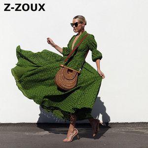 Z-zoux vestido de las mujeres de la manga de soplo del V-cuello de los vestidos de impresión más el tamaño de la impresión atractiva vestidos largos de la vendimia 2020 nueva ropa de verano de las mujeres